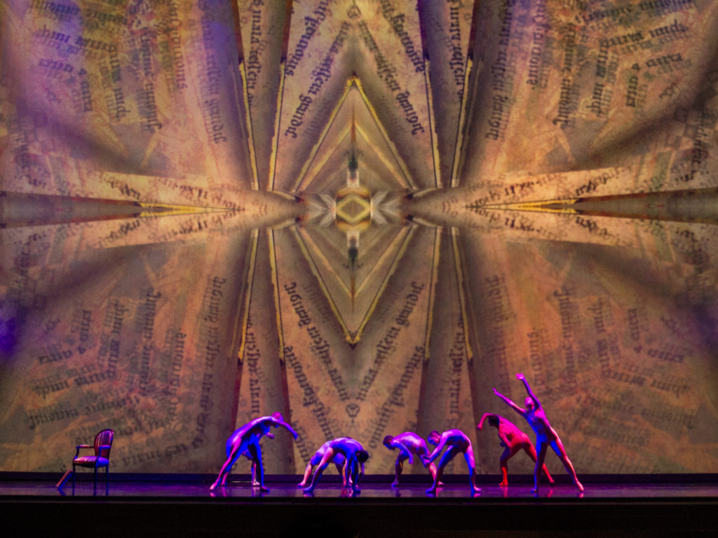 Bibliohallucinations accompany Franz Bierman's near-death experience while reading his prized book. Choreography by Karen Russo Burke.